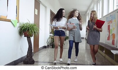 Teenage students walking in high school hall during break.