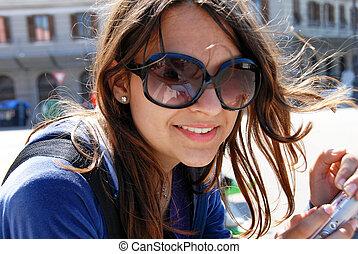 teenage, sunglasses, dziewczyna