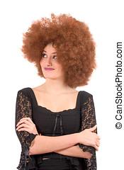 Teenage wig-fun - Beautiful teenage girl with red afro wig