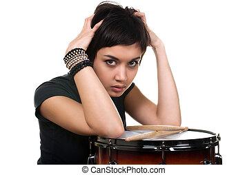 teenage with drum