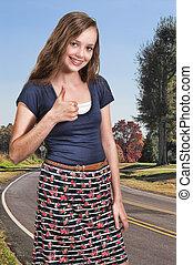 Teenage Woman Thumbs Up