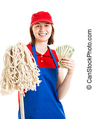 Teenage Worker Earning Money - Teenage worker holding up a...