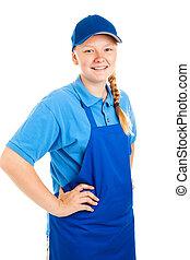 Teenage Worker Hands on Hips - Teenage worker posing in...