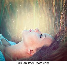 teenage, wzór, dziewczyna, outdoors, cieszący się, natura