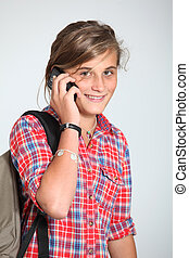 Teenaged girl with mobile phone