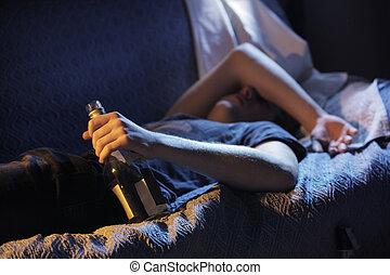 teenager, addiction alkohol, begreb