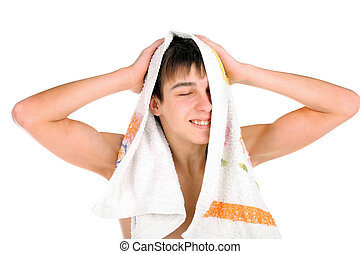 teenager after bathing - happy teenager after bathing...
