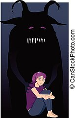 Scared girl sitting hugging her knees, a monster touching her shoulders, vector illustration