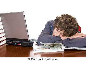Teenager asleep studying - Teenager asleep while studying...