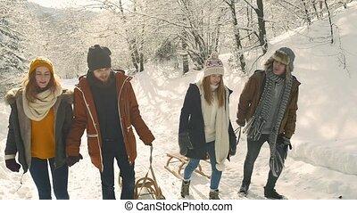 teenager, auf, a, weg innen, winter, nature.