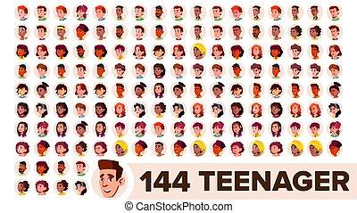 Teenager Avatar Set Vector. Girl, Guy. Multi Racial. Face...