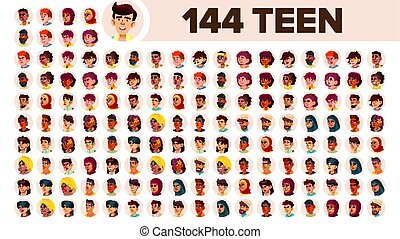 Teenager Avatar Set Vector. Girl, Guy. Multi Racial. Face Emotions. Multinational User People Portrait. Male, Female. Ethnic. Icon. Asian, African, European, Arab. Flat Illustration