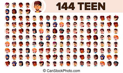 Teenager Avatar Set Vector. Multi Racial. Face Emotions. Multinational User People Portrait. Male, Female. Ethnic. Icon. Asian, African, European, Arab. Flat Illustration