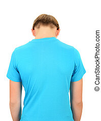 Back View of the Teenager isolated on the white background