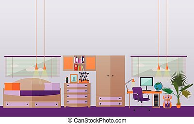 Teenager bedroom interior objects in flat style. Vector illustration. House room design elements and icons