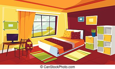 Teenager bedroom vector cartoon illustration of teen girl or boy room interior furniture background