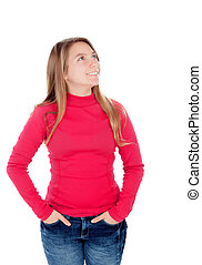 Teenager blonde girl in red looking up