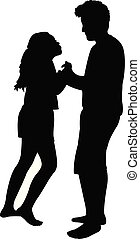 teenager boy and girl playing, silhouette vector
