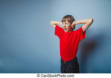 teenager boy brown European appearance in a red shirthands ...