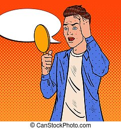 Teenager Boy Confused about the Pimples on his Face. Skin Care. Pop Art Vector illustration