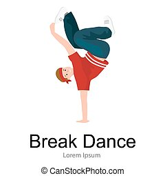 Teenager boy dancing hip hop style isolated vector illustration. Young cool dancer break dance motion, break pose balance