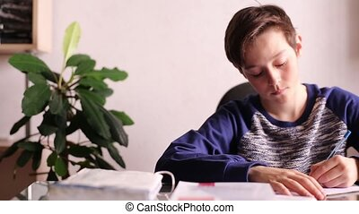 Teenager Boy Doing Homework at Table
