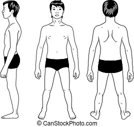 Teenager boy - Full length profile, front, back view of a...