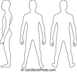 Teenager boy - Full length profile, front, back view of a ...