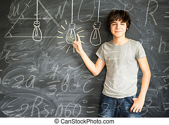 Teenager boy getting an idea