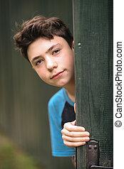 teenager boy happy summer outdoor close up portrait