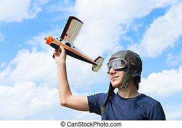Teenager boy pilot