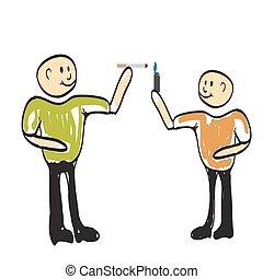 teenager boy smokes illustration