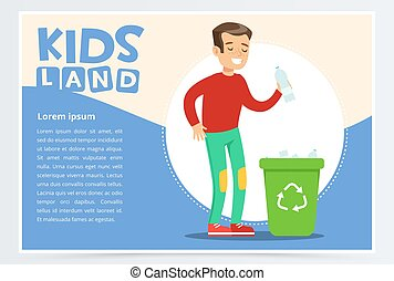 Teenager boy throwing away plastic bottle in waste container with recycling symbol. Creative blue card. Colorful flat cartoon vector illustration.