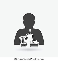 teenager boy with fast food