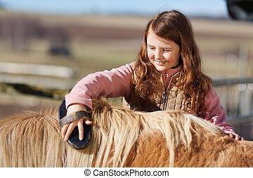 Teenager brushing her pet pony