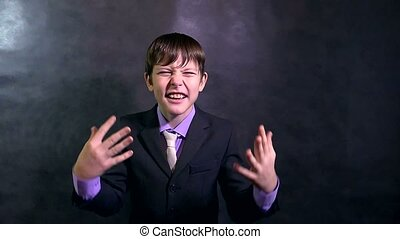 teenager businessman boy shouting angry swears slow motion -...