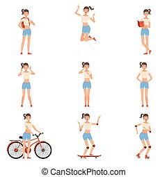 Teenager characters. Teen girl in a different situation vector illustration