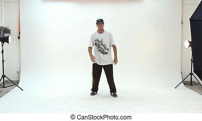 Teenager dancing breakdance