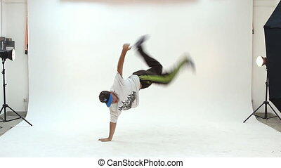 Teenager dancing breakdance