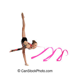 teenager doing gymnastics split with ribbon