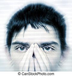 Teenager Face closeup - Intent Look of Teenager keeping an ...