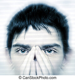 Teenager Face closeup - Intent Look of Teenager keeping an...