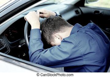 Teenager Fall asleep in a Car - Young Man fall asleep in a...