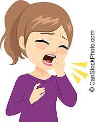 Teenager Girl Coughing