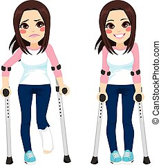 Teenager Girl Crutches - Girl with sad expression and broken...