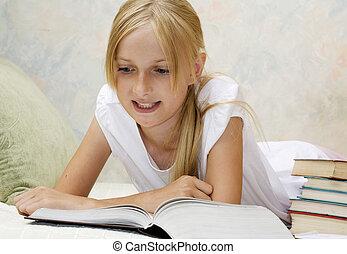 Teenager girl do homework - Teenager girl do her homework