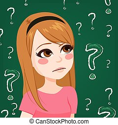 Teenager Girl Doubting - Young teenager girl doubting with...