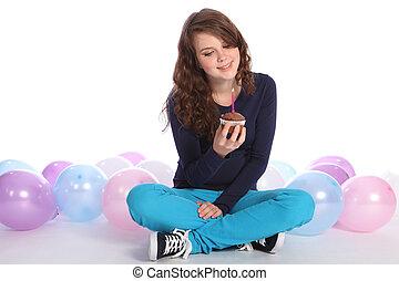 Teenager girl happy birthday chocolate cake