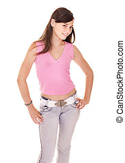 Teenager girl in jeans.