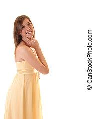Teenager girl in profile.
